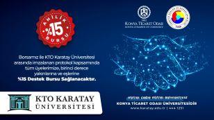 Üniversite tercihlerinde, KTO Karatay Üniversitesi'nden oda-borsa üyelerimize özel %15 indirim fırsatı. Ahilik Bursu ile üyelerimize, birinci derece yakınlarına ve eşlerine ücretli kontenjandan KTO Karatay'a kayıt yaptırmaları hâlinde %15 oranında Ahilik Bursu indirimi sağlanmaktadır. https://tanitim.karatay.edu.tr/