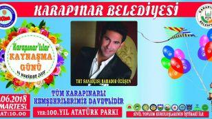 16 Haziran Cumartesi, Ramazan Bayramının 2.Günü 100.Yıl Atatürk Parkında, Karapınar Kaymakamlığı, Karapınar Belediyesi ve Sivil Toplum Örgütlerinin ortaklaşa düzenlemiş olduğu Karapınarlılar Kaynaşma Günü Etkinliklerinde sizleride aramızda görmekten onur duyarız.