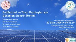 """Mevlana Kalkınma Ajansı tarafından 20 Ekim 2020 Salı günü saat 14.00'da işyerlerinde çatı yüzeylere güneş enerjisi üretimi için kurulum noktasında """"Endüstriyel ve Ticari Kuruluşlar İçin Güneşten Elektrik Üretimi"""" başlıklı bir bilgilendirme söyleşisi düzenlenecektir."""