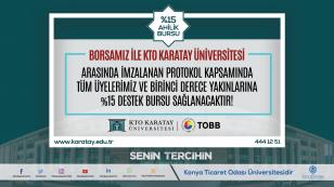 KTO Karatay Üniversitesi ile gerçekleştirdiğimiz protokol kapsamında borsamız üyelerine ve birinci derece yakınlarına herhangi bir ön lisans veya lisans programlarını tercih edip kayıt yaptırmaları halinde, %15 oranında destek bursu sağlanmaktadır. #senintercihin  @ktokaratay